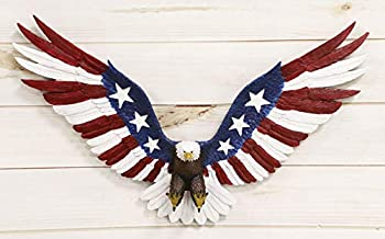 Ebros Freedom Glory Large Flying American Flag Tattoo Bald Eagle With Talons Out Wall Decor Statue 22  Long Hanging Mounted Sculpture Plaque Patriotic Home Centerpiece Pediment