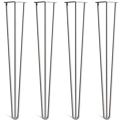 [HLC] 4 x Hairpin Table Legs – Superior Double Weld Steel Construction with Free Screws, Build Guide & Protector Feet, Worth £8! – 10mm Steel, All Sizes & 13 Colours [4'/10cm,Raw]
