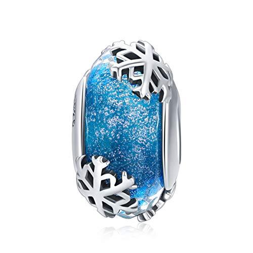 CHENGMEN - Ciondolo a forma di fiocco di neve su perline in vetro di Murano blu, in argento Sterling 925, adatto a braccialetti europei