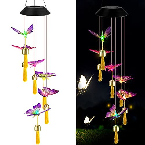 ERYTLLY Wind Chimes Outdoor Solar String Lights, Color Changing LED Mobile Hummingbird Wind Chimes, Waterproof Outdoor Solar Lights for Home Yard Patio Garden with Bells (Butterflies Chimes)