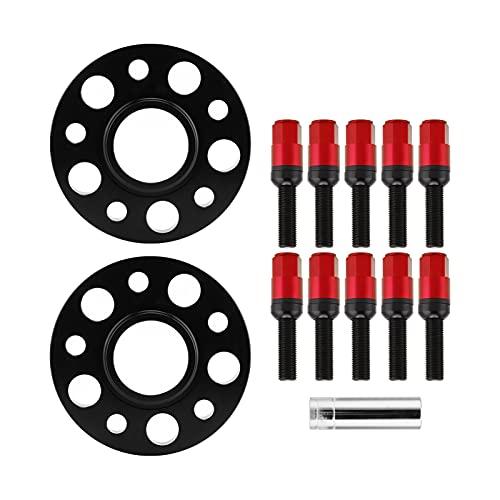 Espaciador de rueda de orificio, kit de espaciadores de rueda centrados en eje de coche de 15 mm, reemplazo de reparación de modificación para A4 / A6 / A7 / A8 / Q5 / RS5(rojo)
