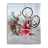 SUNOP Duschvorhang Weihnachtsmann auf Fahrrad mit Fre&, Rentier, schimmelresistent, Wasser-Duschvorhang für Badezimmer mit 12 Haken 150 x 180 cm (60 x 72 Zoll)