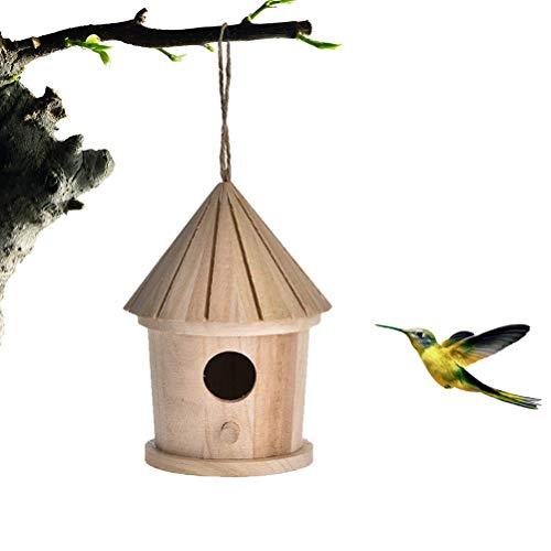 Maison doiseau, nid doiseau en Bois Suspendu Maison doiseau Cage à Oiseaux en Bois Naturel Lieu de Repos pour Jardin pour Oiseaux Oiseaux Sauvages