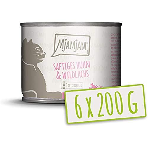 MjAMjAM - Premium Nassfutter für Katzen - saftiges Huhn und wildlachs, 6er Pack (6 x 200 g), getreidefrei mit extra viel Fleisch