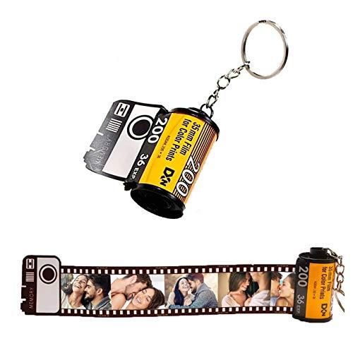 Personalisierter Schlüsselbund, Filmrolle Fchlüsselanhänger mit Ihrem Eigenen Foto Personalisierte Geschenke zum Geburtstagsjubiläum von Familie und Freunden(Holzbox)