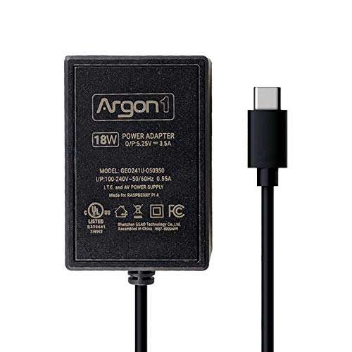 Argon ONE Raspberry Pi 4 USB Type C Cable Power Supply | 5 Feet Long | UL Listed 18 Watts 5.25 Volts 3.5 Amps USB C Cable Power Adapter