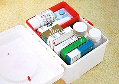 Param Mini Plastic Emergency Medicine Kit Box Chest with Removable Inner Tray and Carrying Handle
