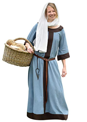 Battle-Merchant Mittelalter Kleid Gudrun lang für Damen aus Baumwolle Mittelalter Kleidung Wikinger LARP Mittelalterkleid, M, Blaugrau/Braun