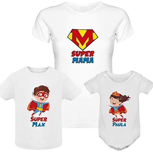 Regalo día de la madre camiseta madre personalizada + Body o camiseta hijo/a Texto estilo superwoman superheroe
