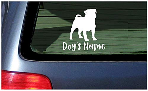 SUPERSTICKI Your Name with Pug Dog - White raam Sticker Decal Custom Personalized Dog Gift Customized Lettering ca 20cm sticker autosticker muursticker