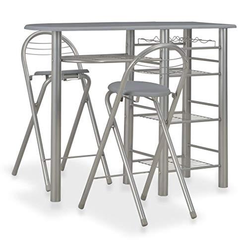 Festnight 3-TLG. Bar-Set mit Regalen Esstisch Tresentisch Küchentisch Bistrotisch Tisch mit 2 Klappstühle Sitzgruppe Essgruppe für Küche Esszimmer Holz und Stahl Grau