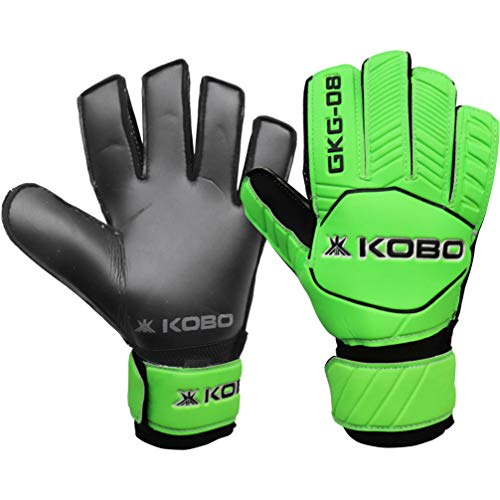 Kobo GKG-08 Football/Soccer Goalie Goal Latex Keeper Gloves, Strong Grip for The Toughest Saves, Protection, Comfort & Durable, 9.5, Without Finger Save