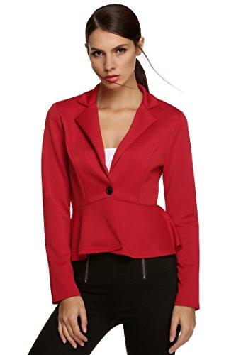 Beyove - Giacca da donna senza colletto Blazer Business Cardigan Sakko, classica giacca corta B + rosso. M