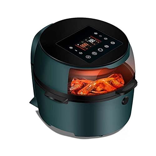 Freidora de aire, freidora eléctrica Multifunción de gran capacidad Papas fritas Freidora eléctrica Factor de máquina Hogar inteligente Sin aceite (Color: Verde) Utensilios de cocina sal