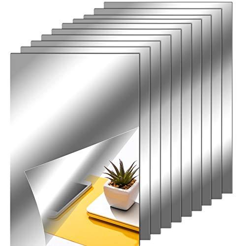 Hojas de Espejo Flexibles Azulejos de Espejo sin Vidrio Autoadhesivos Pegatinas de Espejo para Decoración de Pared de Hogar (10, 6 x 9 Pulgadas)