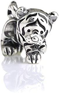 Kitty Tiger Sterling Silver Charm Bead S925, Cute Tiger Cat Kitty Panther Silver Charm Bead Pendant, Silver Lion Tiger Necklace, Pandora compatible Charm Jewellery