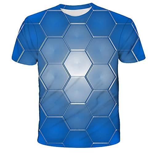 EMPERSTAR Camiseta Hombre Manga Corta Camisetas de Manga Corta Sueltas con Cuello Redondo Y Estampado Digital En 3D de Gráficos Geométricos de Verano