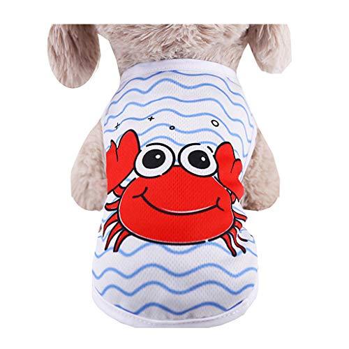 Coversolat Hundeshirt Kleine Hunde Sommer T-Shirt Welpen Ärmelloses Shirt Weste Wassermelone Krabbe Drucken Hundekleidung
