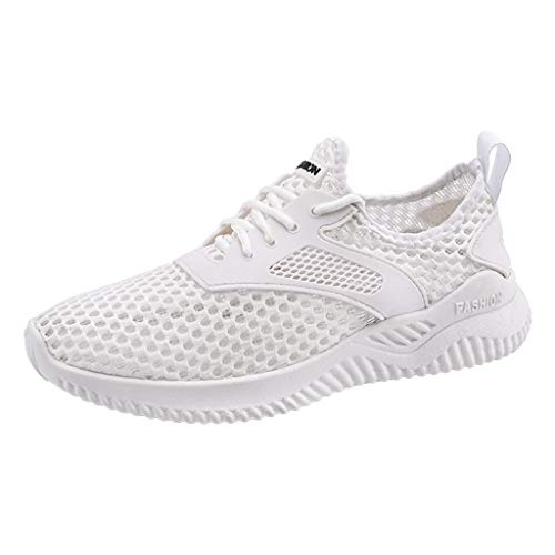 Routefuture Chaussures de Course Femme Baskets Running Fitness Sneakers Respirantes Outdoor Casual (Blanc,39)