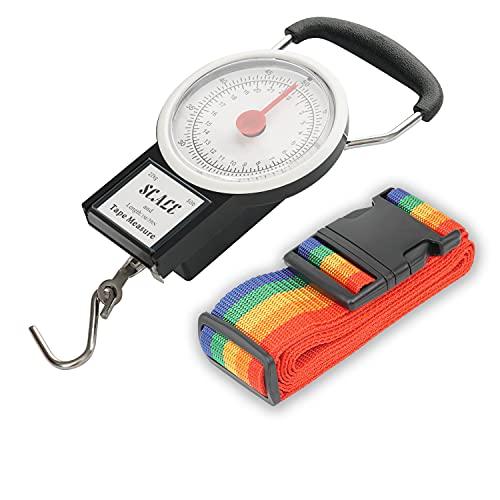 TFY - Bilancia da viaggio per bagagli, scala manuale con metro a nastro e cinghia per bagagli, misura fino a 34 kg e 99 pollici