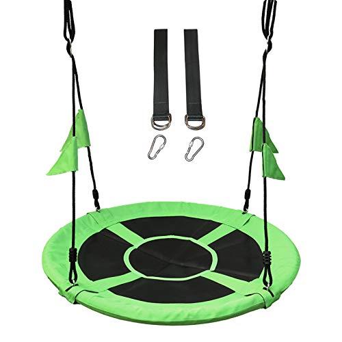 Columpio Jardín Nido Altura Ajustable con Cuerdas y Banderas para Niños y Adultos Carga 100 kg Interior y Exterior,Green