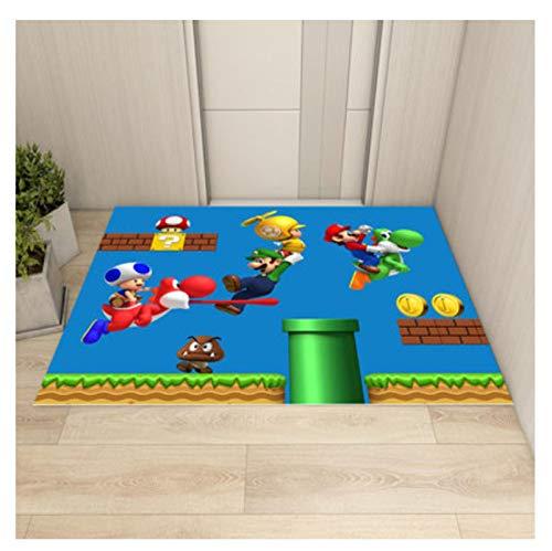 Alfombra rectangular de dibujos animados de Super Mario Bros, alfombras antideslizantes, alfombrilla para puerta de piso, alfombrilla de juego negra amarilla para niños, decoración para sala de estar