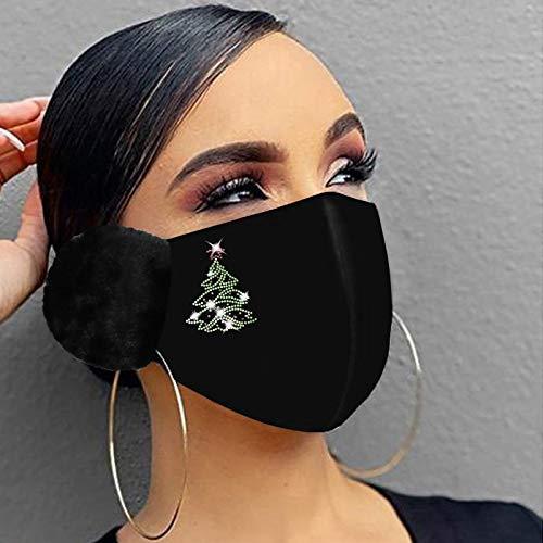Dwevkeful Mundschutz Weihnachts Waschbar Bandana Maske mit 3D Weihnachtsmotiv Baumwolle Stoff Mund-Nasenschutz Atmungsaktiv Multifunktionstuch Im Winter Warm Halten Halstuch Schals