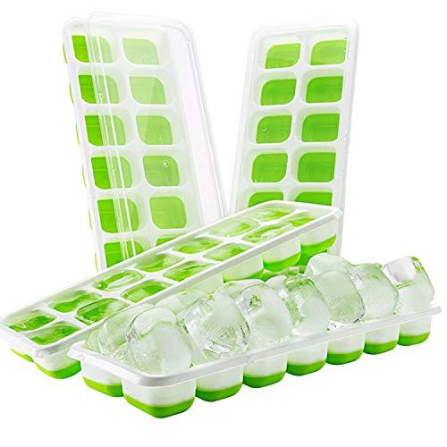 iFancy Eiswürfelform Hot Summer mit Deckel - 2er Pack - Platzsparend Stapelbar - TPE + PP Eiswürfel Ice Cube Tray Eiswürfelbehälter (Grün)