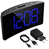 Holife Despertadores Digitales, Reloj Despertador Digital, Pantalla Curva LED de 5'', 6 Niveles de...