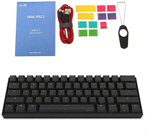 TzBBL Anne Pro 2 Mechanical Gaming Keyboard 60% True RGB Backlit - Wired/Wireless Bluetooth 4.0 PBT Type-c Up to 8 Hours Extended Battery Life, Full Keys Programmable (Gateron Red Switch, Black)