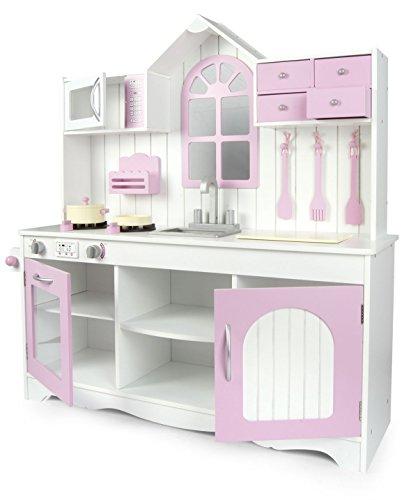 Leomark Cucina Exclusive Royal Rosa, giocattolo per bambini, gioco in legno, giocare d'imitazione, accessori per cucina, educazione tavola, fornello divertimento, dimensioni: 105x30x108cm (LxPxA)