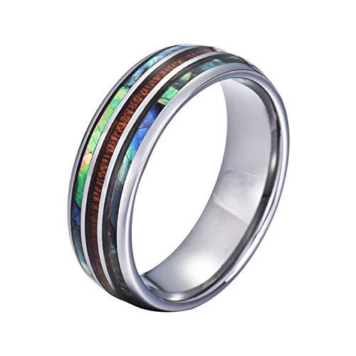 Gualiy Anillos de promesa para hombre, 8 mm, acero inoxidable/tungsteno abulón y madera con incrustaciones de anillos para hombres, niños, padre, marido, plata,