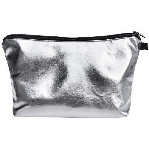 PREMYO Kosmetiktasche Klein für Handtasche - Schminktasche Damen Make Up Tasche - Federmappe Mädchen Etui Stifte (One Size, Silber)