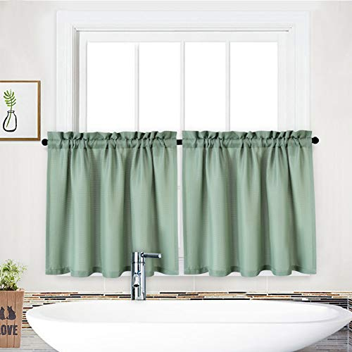 """NANAN Tier Curtain,Waffle Weave Textured Rod Pocket Tailored Short Drapes for Bathroom Waterproof Window Covering Kitchen Cafe Curtain - 30"""" x 24"""", Sage, Set of 2"""