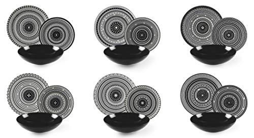 Excelsa Etnik Vajilla de 18 piezas, cerámica, blanco y negro