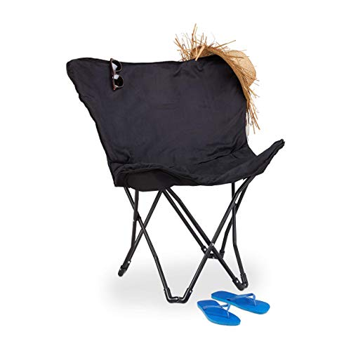 Relaxdays Butterfly Chair, faltbarer Relaxsessel in Schmetterling Design, indoor, bequemer Faltstuhl mit Bezug, schwarz
