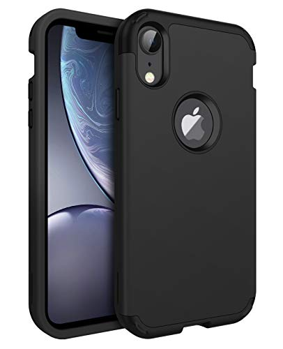 BENTOBEN iPhone XR Case, 3 in 1 Heavy Duty Hybrid Hard PC Soft Silicone Bumper Shockproof Anti Slip Protective Case for Apple iPhone XR 6.1 Inch 2018, Black