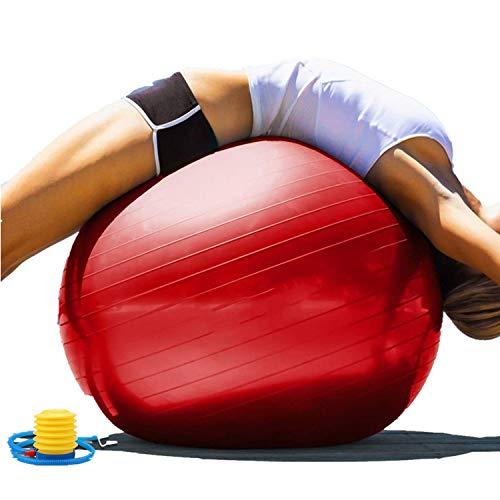 Gymnastikball, Balance Ball, Pilates Ball 55cm/65cm/75cm/85cm/95cm Yoga Ball mit Pumpe Anti-Burst Fitness Balance Ball für Core Strength (Büro & Hause & Fitnessstudio),Rot,85cm[Height:175~180cm]