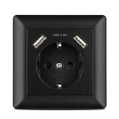 Steckdose mit 2 x USB Anschluss 2.8A Schwarz, Kaifire System 55 Schuko Wandsteckdose unterputz - Ladegerät für Smartphone Tablet MP3