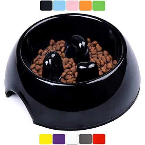 DDOXX Fressnapf Antischlingnapf, rutschfest | viele Farben & Größen | für kleine & große Hunde | Futter-Napf Katze | Hunde-Napf Hund | Katzen-Napf | Melamin-Napf | Schwarz, 300 ml