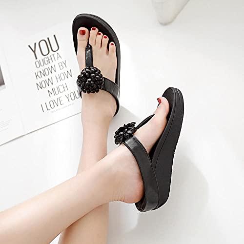 ypyrhh Hausschuhe mit Kork-Fußbett,Mode trägt Sandalen, Water Bohrer Flache Strandschuhe-schwarz_39,lässige Outdoor-Hausschuhe für Frauen