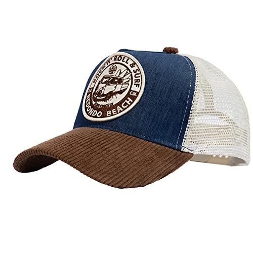 King Kerosin Herren Trucker Cap | Patch | Mesh | Denim Front | Cord Schirm Rock`n Roll & Surf