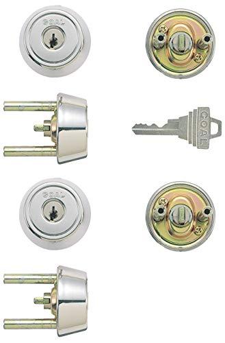 GOAL(ゴール) ピンシリンダー TXタイプ GCY-89 キー標準3本付属 玄関 鍵 交換 取替え 2個同一セット テール刻印31 /扉厚31〜34mm向け GCY89 TX /TDDシルバー色