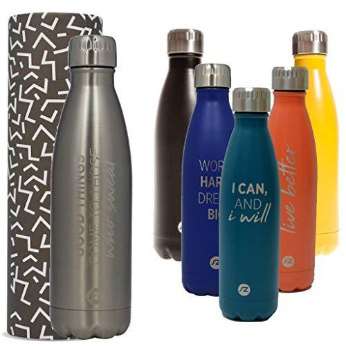 Bottiglia per acqua Sternitz in acciaio inossidabile senza BPA - 24 Ore Freddo & 12 Caldo - 500 ml. (Metallo)
