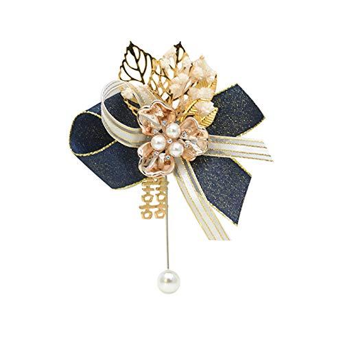 XPT Broche de mujer elegante hermoso diseño decorativo imitación perla boda ramillete para novia novio niñas fiesta regalo azul oscuro