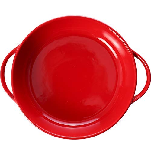 ZKAIAI Resistente al Calor Bandeja de Horno de cerámica roja Orejas Redondas Bandeja de Horno Europea Sencilla hogar Plato Restaurante Plato de Ensalada Plato de Risotto