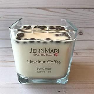 Splendid Beauty | Hazelnut Coffee Scented Soy Candle Glass Square Jar | Handmade | Eco-friendly | Vegan | Cotton Wick | 100% Soy Wax