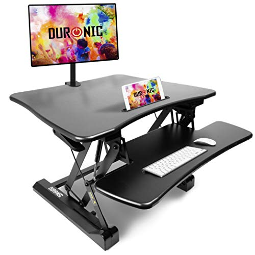 Duronic Sit-Stand Desk DM05D3 | Height Adjustable Office Workstation | 73x59cm Platform | Raises...
