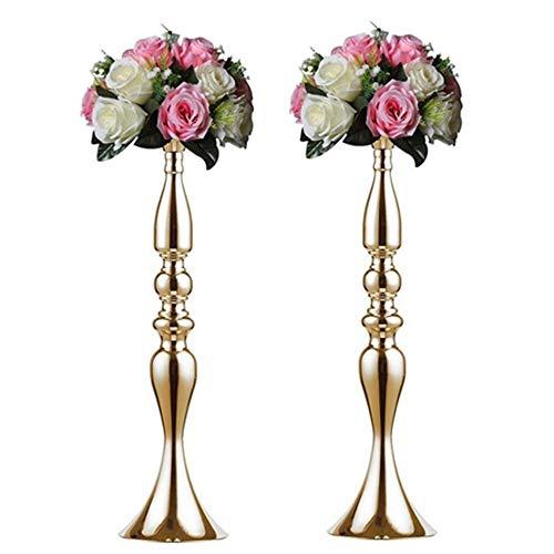 Nuptio 2 Stück Gold Metall Säule Kerzenhalter 50cm Höhe, Vasen für Hochzeit Mittelstücke, Party Dinner Event Herzstück Wohnkultur