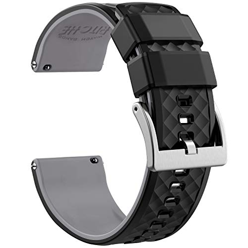 Ritche 22mm Silicone Watch Bands Quick Release Rubber Watch Bands for Men Women (Black / Gray / Silver, 22MM)